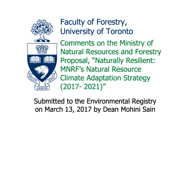 Prof. Mohini's Comments on the Ministry of Natural Resources and Forestry Proposal