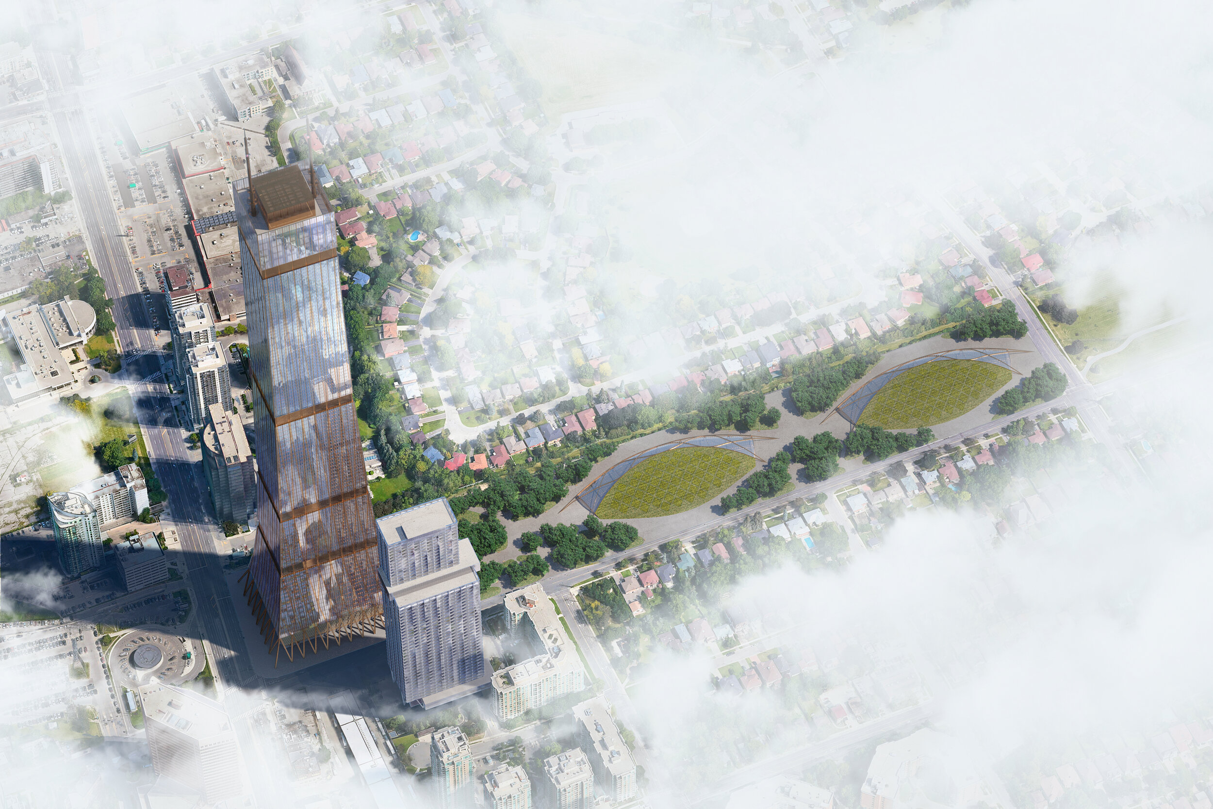 Zero Carbon Hybrid Wood Tower Prototype. Courtesy of DIALOG.